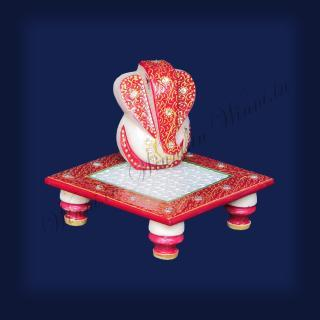 buy Ganesh Chowki Marble painted