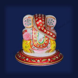 buy Ganesh on Round  base Marble Painted