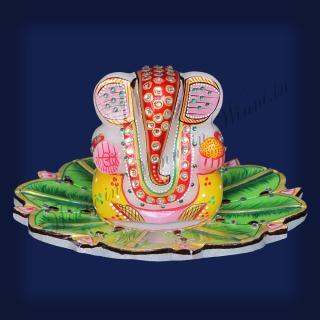 buy Ganesh on Leaves Marble Painted