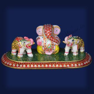 buy Ganesh with Elephants Marble Painted Tile
