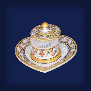 buy Jar Set Heart (1 Jar) (Gold) Marble Painted