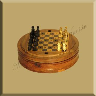buy Wooden Round Travelling Chess Game