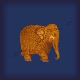 buy Trunk Down Elephant, Wooden Carving, Small
