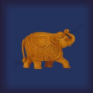 buy Trunk UP Elephant, Wooden Carving, Medium
