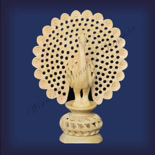 buy Dancing Peacock, Wooden Carved(Jali Work)