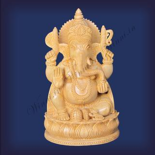 buy Lord Ganesha Sitting On Lotus, Wooden FINE Carving Special, Medium