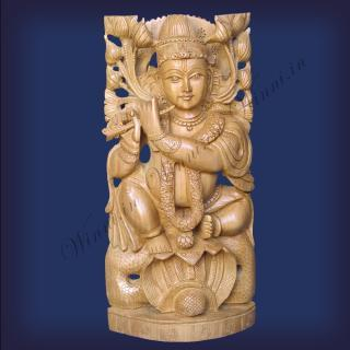buy Lord Krishna On Snake(Sarp/Naag), Wooden FINE Carving Special
