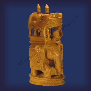 buy Trunk Down Ambari Elephant, Wooden Carved Round,