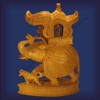 buy Trunk Up Ambari Elephant, Beautifully Wooden Carved