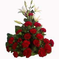 Intense Emotions  A basket of 25 Red Carnations