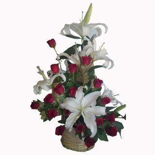 buy Warm Wishes  A Basket of 15 Red Roses and 2 set of White Lilies