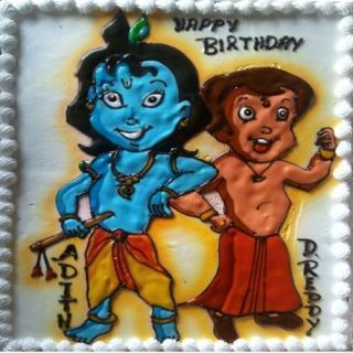 buy Bheem with Kanaiya( Vanilla) Cake