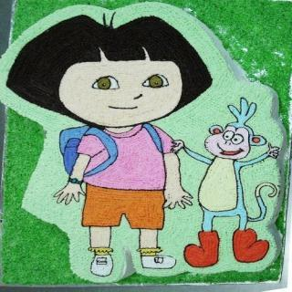 buy Little Girl With Cartoon Monkey ( Pine Apple) Cake