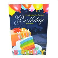 Rainbow cake birthday wishes card