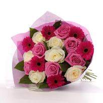 Beautiful You  A bunch of 6 Pink Roses 6 White Roses and 6 Pink Gerbera
