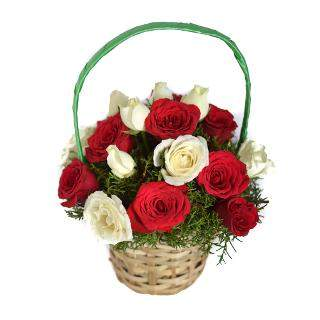 buy Radiant Wishes  A basket of 10 Red and 10 White Roses