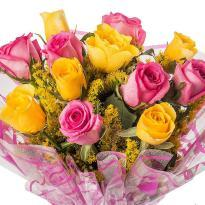 buy Pink And Yellow 15 Roses Bunch