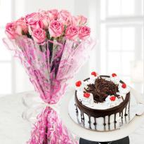 buy 10 Pink Roses And Black Forest Cake
