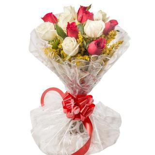 buy Red And White 25 Roses
