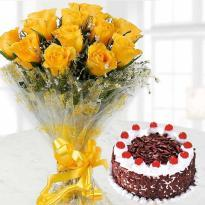 buy Black Forest Cake And 10 Yellow Roses