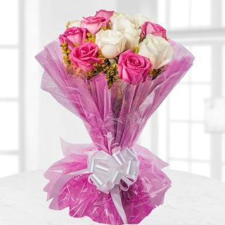 buy Pink And White 20 Roses Bunch