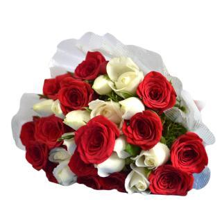 buy Profound Love A bunch of 15 Red and 15 White Roses