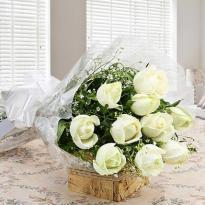 buy Thoughtful Wishes A Bouquet of 15 White Roses