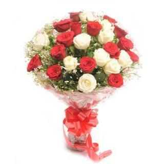 buy Scintillating Beauty A bouquet of 10 Red and 10 White Roses