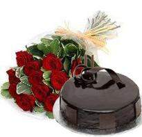 Red Roses And Chocolate Cake