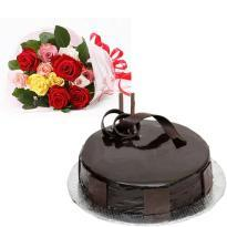 Mix Flower Bouquet and Chocolate Cake