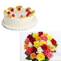 buy Mixed Roses With Cake