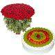 view Red Roses N Fruity Treat