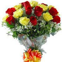 buy Red And Yellow 15 Roses Bunch