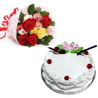 buy Mixed Roses And Vanilla Cake