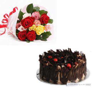 buy Mixed Roses With German Wild Forest Cake
