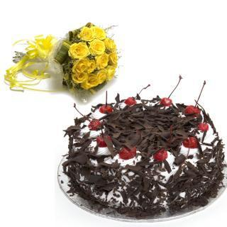 buy Yellow Roses And Cake