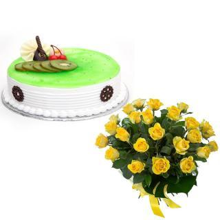 buy Yellow Roses N Kiwi Cake