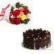 Buy Mixed Roses With German Wild Forest Eggless Cake