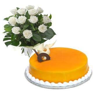 buy White Roses N Mango Eggless Cake