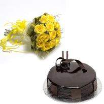 buy Yellow Roses And Chocolate Eggless Cake