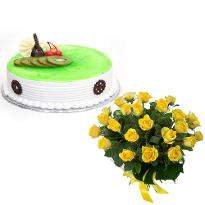 Yellow Roses N Kiwi Eggless Cake