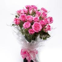 Send First Step Blooming Pink Roses Bunch to agartala