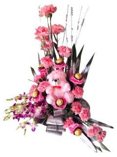 buy Basket of Orchids and Pink Carnations with Chocolates and Teddy Bear