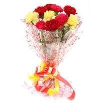 Bouquet of Red and Yellow Carnations