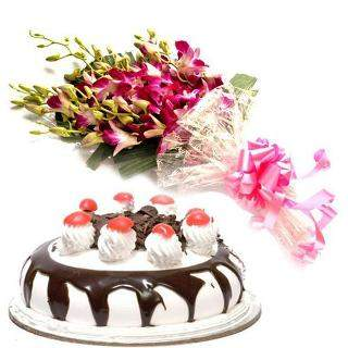 buy Mix Flower Bouquet and Chocolate Cake