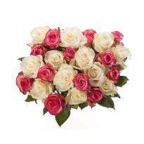 Pink And White Roses Bunch