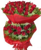Red Roses in Two tier with Red Packing