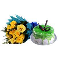 Yellow Roses N Kiwi Cake
