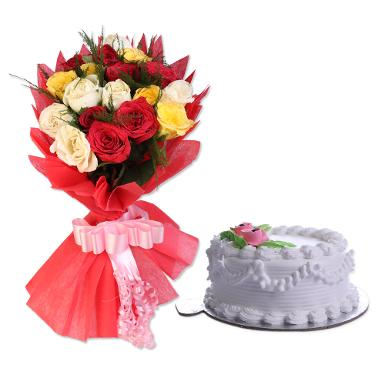 Buy Mixed Roses And Vanilla Eggless Cake