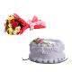 Buy Mixed Roses And Vanilla Eggless Cake